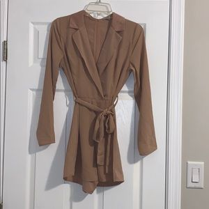 Sexy long sleeve romper with front tie (worn once)